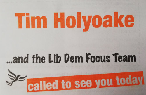 Tim Holyoake and the Lib Dem Focus Team in Oakwood - listening to you